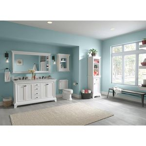 Home Decorators Collection Strousse 61 in. W x 22 in. D Vanity Cabinet in White with Engineered Stone Vanity Top in Ice Diamond with White Sinks for Sale in Dallas, TX