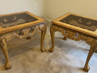 Pair of Ornately Carved Solid Wooden End Tables for Sale in Morrisville,  NC