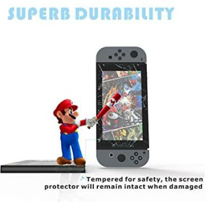 PORTHOLIC Switch Screen Protector Glass, [2 Pack] [Works While Docking] Premium Tempered Glass Screen Protector for Nintendo Switch