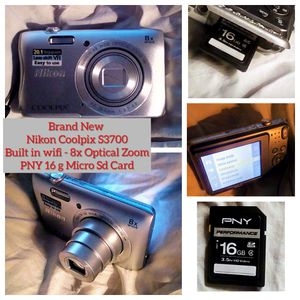 Brand new Nikon Coolpix S3700 Digital Camera and Video Camera wit Pny 16 g as card for Sale in Waynesboro, MS