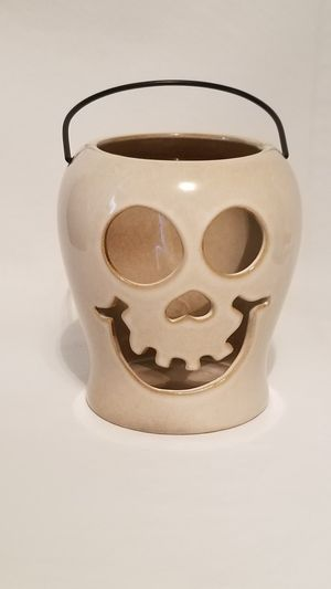 Halloween Ceramic Skull Candy/Candle Holder for Sale in Puyallup, WA