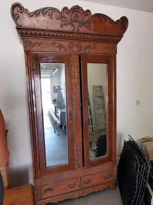 Antique Mirrored Armoire/Wardrobe - French - 2 Drawers - Scottsdale P/U for Sale in Phoenix, AZ