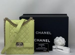 Chanel Boy Bag Quilted Calfskin North South Crossbody Light Green SOLD-OUT for Sale in Corona, CA