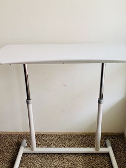 Mobile Standing desk, Adjustable Height, 4 movable wheels, PVC tabletop - White for Sale in Seattle,  WA