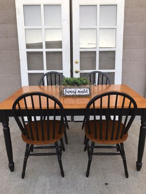 Farmhouse beautiful heavy dining room table and 4 chairs for Sale in Lodi, CA