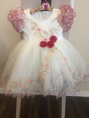 Flower Girl Dress - WHITE with Red & Pink Flowers and Red Lace Trim (Multiple Sizes) for Sale in Kent, WA