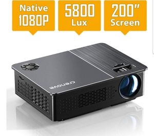 "Native 1080P Projector, Crenova HD Video Projector, 5800 Lux LED Movie Projector with 200"" Display, Compatible with TV Stick, HDMI, VGA, USB for Sale in Tamarac, FL"