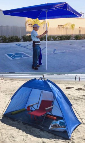 New SET OF 2 ITEMS for $35 7x3 feet beach tent sun shade and 6.5x6.5 feet beach umbrella with carrying bags for Sale in Los Angeles, CA