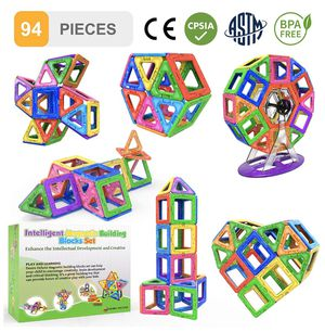 Magnetic Blocks Building Tiles STEM Toys Set (94pc ) – Children Creativity Educational 5 Year Old Boy Gifts for Kids Magnet Construction Toy for Girl for Sale in Edison, NJ