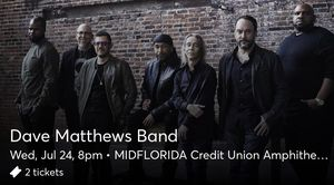 Dave Mathews Band (Tampa) 2 Tickets for Sale in Odessa, FL