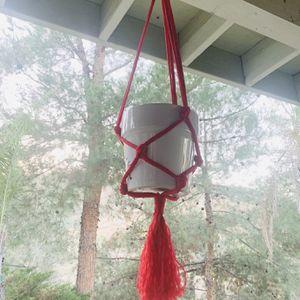 Macrame plan hanging holder pot red multicolor Garden indoor outdoor for Sale in Riverside, CA
