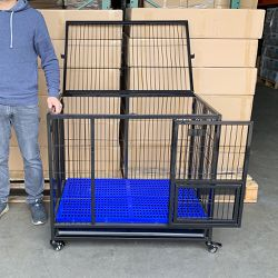 "New in Box $130 Heavy-Duty Dog Cage 37x25x33"" Single-Door Folding Crate Kennel with Plastic Floor & Tray for Sale in Santa Fe Springs,  CA"