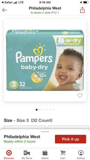 Pamper brand 3 packs of diapers and 6 (56 count) packs wipes for Sale in Philadelphia, PA
