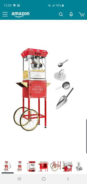 Olde Midway Vintage Style Popcorn Machine Maker Popper with Cart and 8-Ounce Kettle - Red for Sale in St. Louis, MO