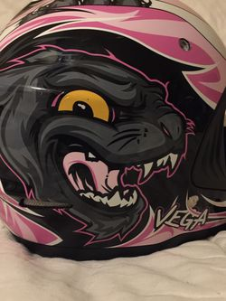 Vega Viper JR. (Size Medium) pink with silver flames Dirtbike Riding Helmet. for Sale in Clackamas,  OR
