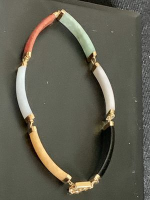 """Vintage Estate 14kt. Solid Yellow Gold and Multi Color Jade & onyx Bracelet 7"""" for Sale in Mountain View, CA"""