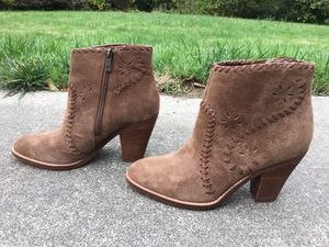IVANKA TRUMP MANDEL BROWN LEATHER SUEDE INLAY ANKLE BOOTS BOOTIES SIZE 7 1/2 M for Sale in Puyallup, WA