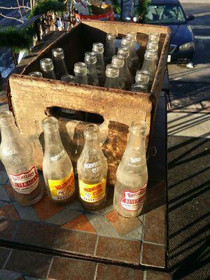 Old antique bottles in wooden case for Sale in Franklin, MA