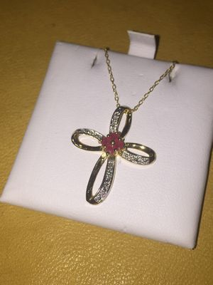 Sterling Silver Gold overlay cross necklace for Sale in West Valley City, UT