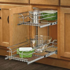 Rev a shelf 19 in. H x 8 in. W x 22 in. D Base Cabinet Pull-Out Chrome 2-Tier Wire Basket for Sale in Fairfax, VA