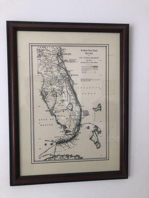 "Florida East Coast Railway Map Frame 18""x24"" for Sale in Saugus, MA"