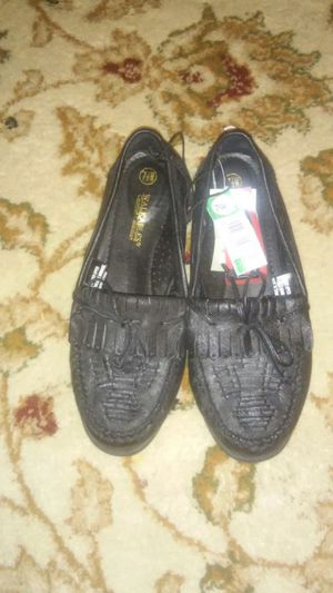 pair of gray fringe leather loafer for Sale in Columbia, PA