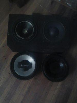 """2 x10"""" in box \ 12"""" Infiniti 1200watt \ 12"""" audiobahn 500watt for Sale in Fresno, CA"""