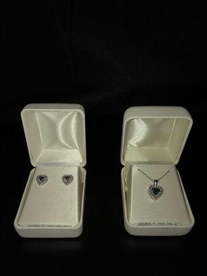 Sterling Silver Blue Diamond Pendant Necklace and Earrings set for Sale in Los Angeles, CA