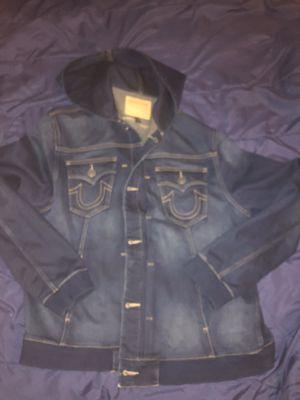 Men True Religion Jean Jacket with hoodie nice Size 2 X for Sale in BRECKNRDG HLS, MO