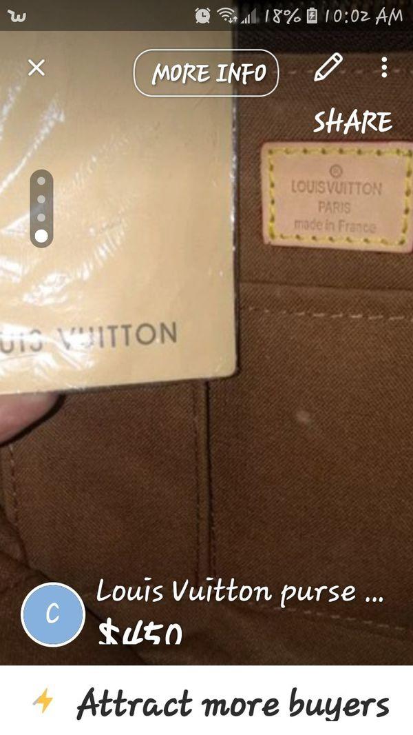 Louis Vuitton purse brand new still has plastic on zipper asking 450 OBO