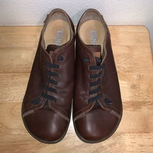 Camper Peu Men Shoes Size 10.5 Dark Brown Comfortable Travel Soft Leather Gift for Sale in Colorado Springs, CO