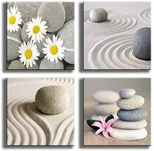 (FREE SHIPPING) Canvas Beach Stone Sand Daisy Flower Beauty Home Décor for Sale in Lansing, MI