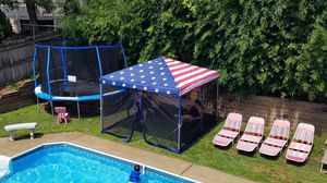 10x10 American Flag Canopy Tent Outdoor Camping Tarp Coverage Mosquito Netting for Sale in Naperville, IL