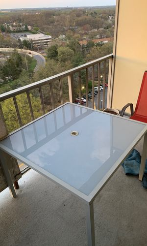 Modern Opaque Glass & Metal Deck Table + 2 Chairs! for Sale in Silver Spring, MD