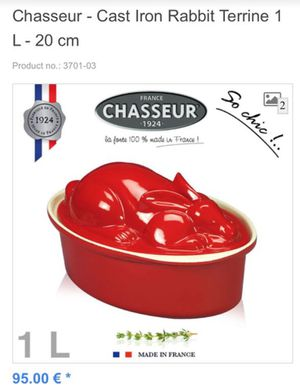 LE CRUSET-it'NOT. It's. Better. Chasseur cast iron rabbit Terrine from France for Sale in Mesa, AZ