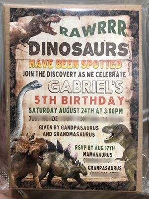 Kids dinosaur party invitations for Sale in Rancho Cucamonga, CA