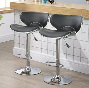 🔥 NEW Set Of 2 Bar Stools Leather Adjustable Swivel Black for Sale in Palmetto Bay, FL