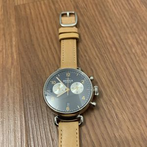 Shinola Women's 38mm Canfield Chrono. Midnight blue w/ natural tan strap for Sale in Beverly Hills, CA