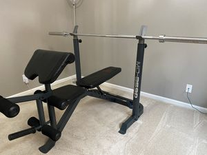 Marcy Olympic Weight Bench + Weight Plates + Weight Rack for Sale in Scottsdale, AZ