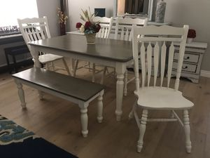 Gorgeous farmhouse beach house dining table with bench and 4 chairs white and gray farm style for Sale in Peoria, AZ