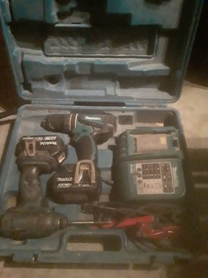 Makita drill set with extra impact drill 3 batteries and charger with hard case for Sale in Richmond, CA