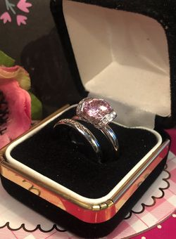 Modern Engagement Ring Set Pink Sapphire Ring With Channel Set White Sapohire Accents On Frame And.925 Sterling Silver Band Sz6 for Sale in Northfield,  OH