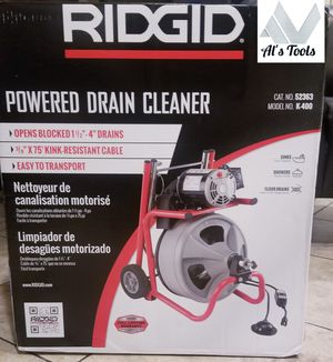 Ridgid K 400 powered drain cleaner with 75 ft kink resistant snake for Sale in Norwalk, CA