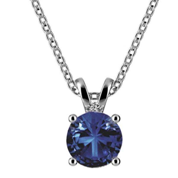 Blue Sapphire With Diamond Lady Necklace Pendant White Gold 14K