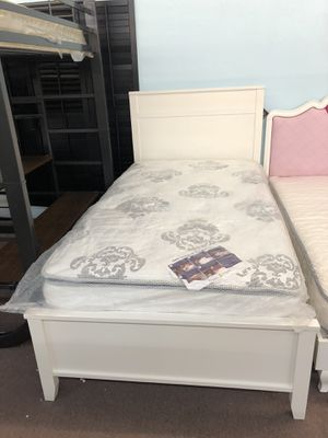 🎉Brand New White Wooden Twin Bed Frame Only $159, finance available for Sale in Sacramento, CA