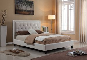 Brand New - White Faux Leather Platform Bed Frame for Sale in Arcadia, CA
