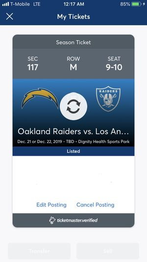 Raiders vs Chargers Dec 21 or 22 TBD - $220 EACH OBO for Sale in Los Angeles, CA