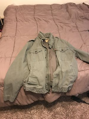 Olive Levi's jacket with hidden hoodie medium for Sale in Orlando, FL