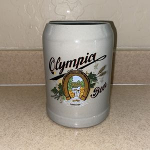 Olympia Beer Mug Vintage 1970 Pottery Stein Tumwater Advertising Brand Logo Cup for Sale in Gilbert, AZ