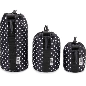 USA GEAR FlexARMOR Protective Neoprene Lens Case Pouch Set 3-Pack (Polka Dot) - Small, Medium and Large Cases Hold Lenses up to 70-300mm with Drawstri for Sale in Redlands, CA